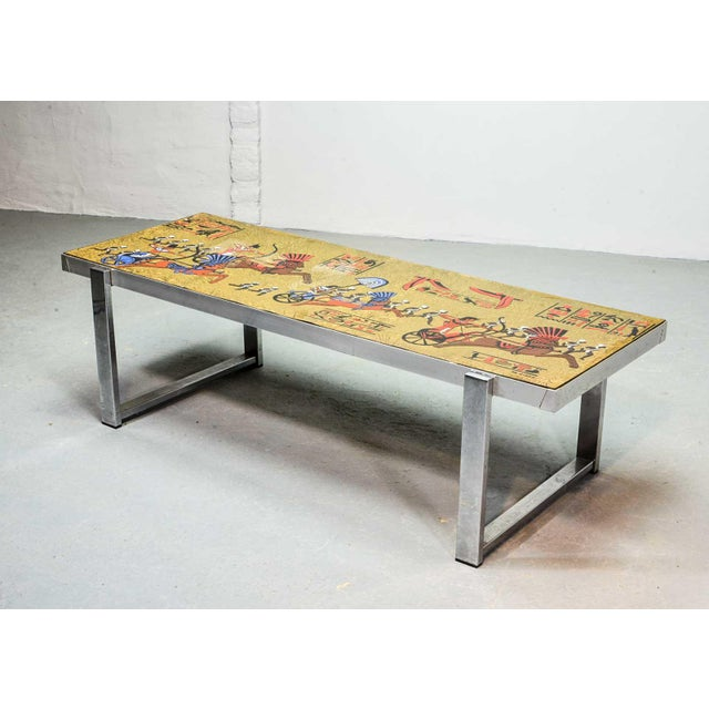 Mid-Century Modern Artistic Mid-Century Belgium Design Egyptian Decorated Coffee Table by De Nisco, 1970s For Sale - Image 3 of 10