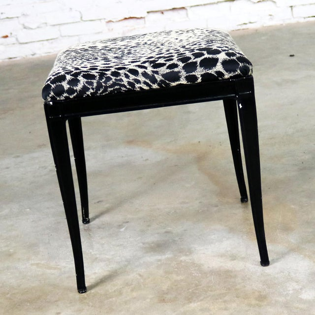 Mid 20th Century Black Art Deco and Animal Print Bench Ottoman Footstool Cast Aluminum by Crucible For Sale - Image 5 of 11