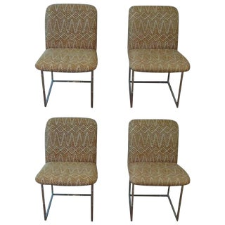1970s Vintage Design Institute America Chrome Side Chairs- Set of 4 For Sale