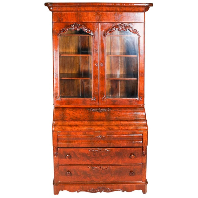 Antique American Empire Flame Mahogany Carved Slant Front Secretary 19th Century For Sale - Image 10 of 10