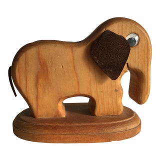 Mid Century Modern Elephant Wood Pen Holder For Sale