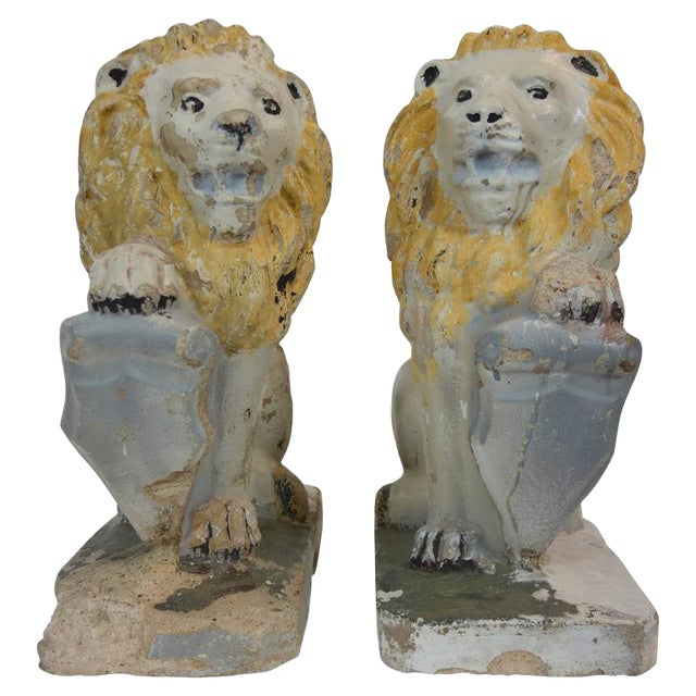 Painted Concrete Garden Lion Statues - a Pair For Sale