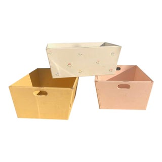 "Folk Art ""Shabby Chic"" Style Wood Storage Bins- Set of 3 For Sale"