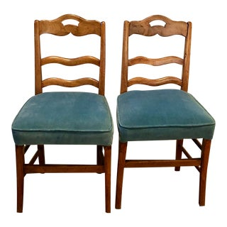 Antique Chairs With Blue Velvet Seats - a Pair For Sale