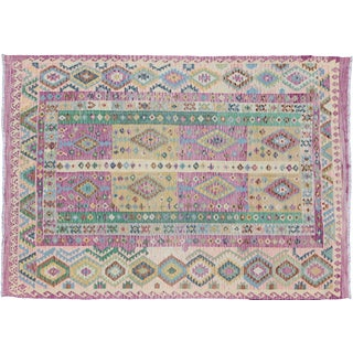 Afghan Kilim Diamond Design Rug - 8′3″ × 11′3″ For Sale