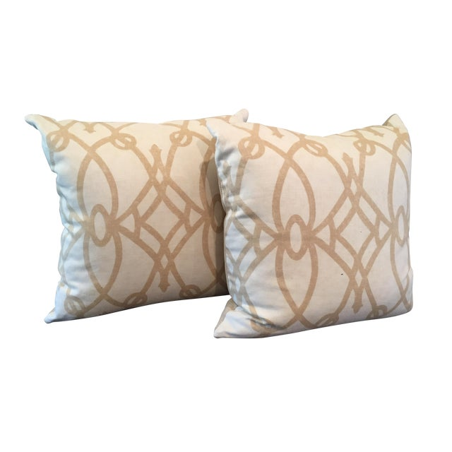 Tan and White Throw Pillows - A Pair For Sale