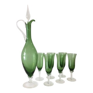 Emerald Green Flame Thrower Carafe With 6 Glasses For Sale