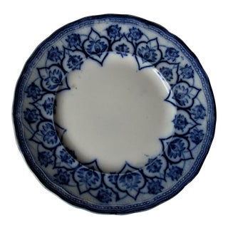 1910s Antique Dutch Flow Blue Plate For Sale