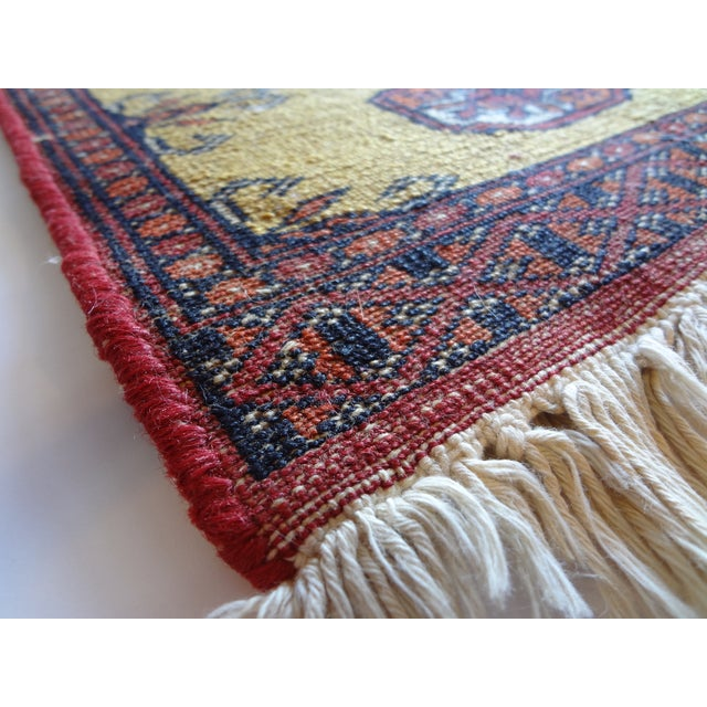 Miniature Hand Knotted Wool Prayer Rug For Sale - Image 4 of 6