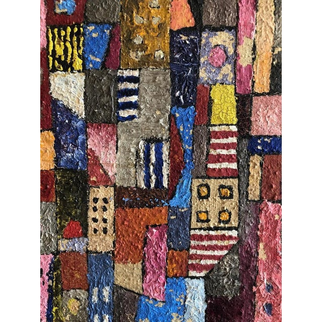 1950s Vintage Modern Abstracted Cityscape Painting For Sale - Image 9 of 11
