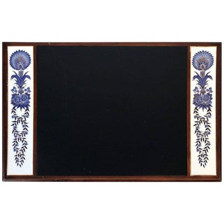 Blue and White Leather Desk Pad With Chinoiserie Floral Motif
