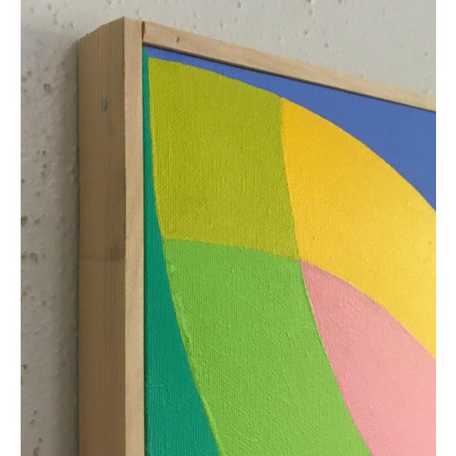 2010s J. Marquis Hard Edge Abstract Framed Canvas Painting For Sale - Image 5 of 6