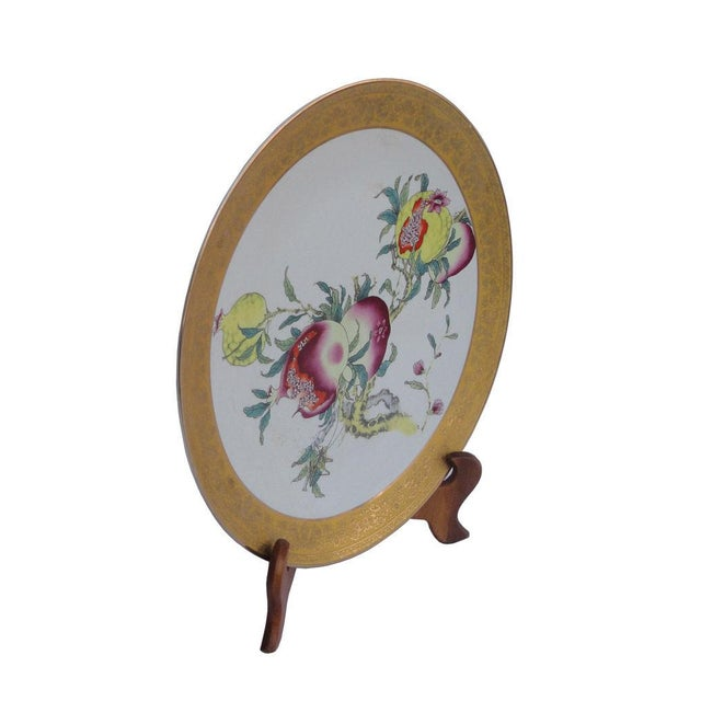 Handmade porcelain display plate with pomegranate drawing, Unique with character, this plate will be a good feng shui...