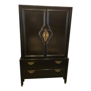 1950s Campaign Century Furniture Black Lacquer Gentleman's Chest