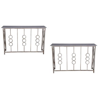 Contemporary Monterey Marble Top Console Tables - a Pair