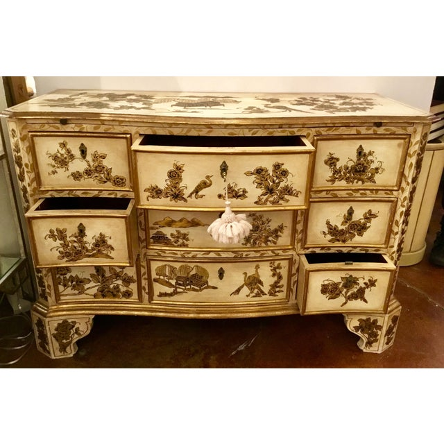 Chinoiserie Vintage Cream Chinoiserie Painted Chest For Sale - Image 3 of 8
