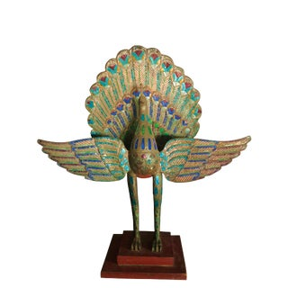 Art Deco Glass Inlaid Peacock For Sale
