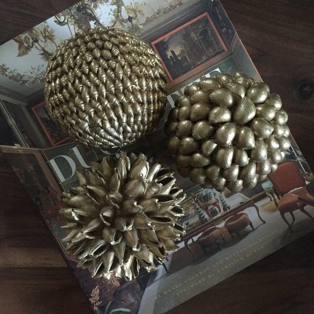 Gold Decorative Shell Balls - Set of 3 - Image 2 of 5