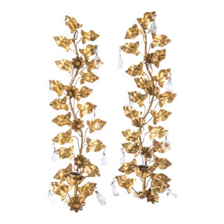 1940s Italian Gilt Crystal Sconces Candle Holders - a Pair For Sale