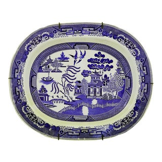 Staffordshire Pottery Blue & White Large Printed Chinoiserie Dish, Circa 1840-50.
