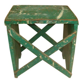 Rustic Primitive Handmade Green Wood Stool For Sale