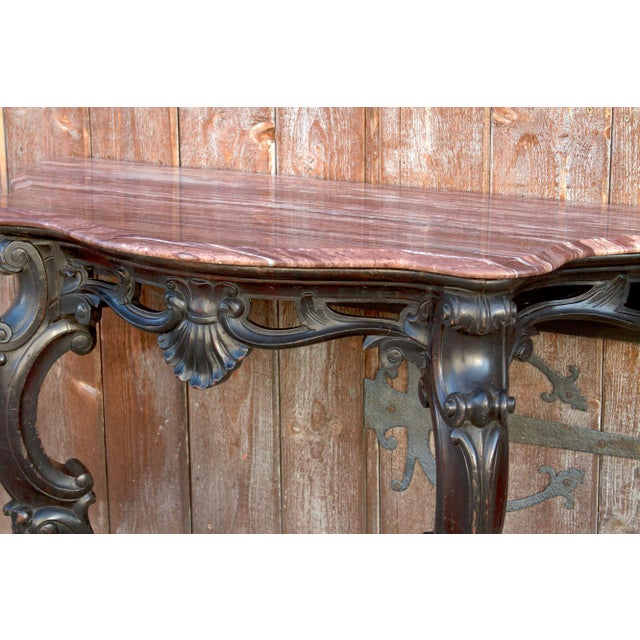 Red Ebonized Anglo Indian Console Table, Pair For Sale - Image 8 of 10