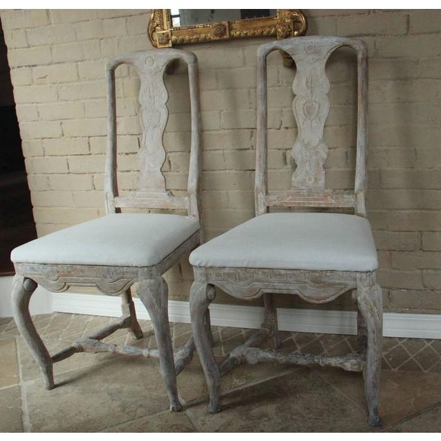 Pair of 18th Century Swedish Rococo Period Side Chairs For Sale - Image 10 of 11