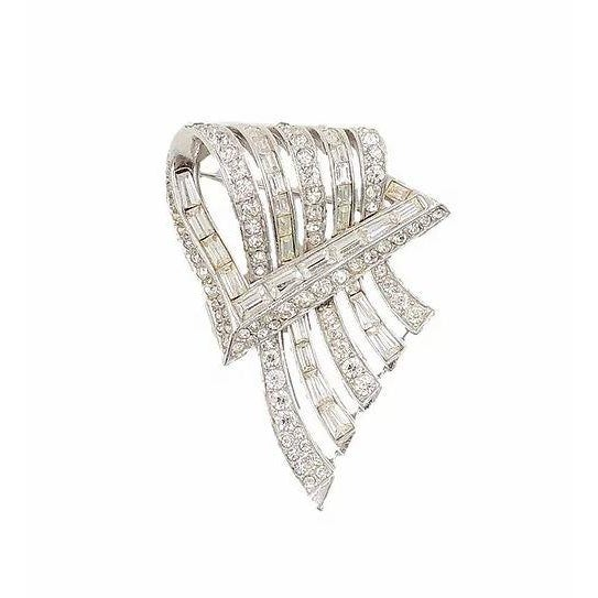 Silver Boucher Rhodium Plated Rhinestone Brooch, 1954 For Sale - Image 8 of 8