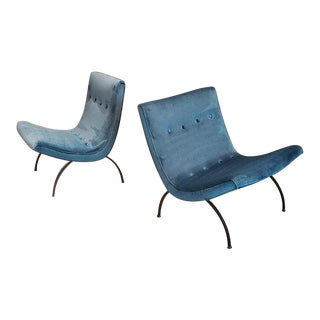 "Milo Baughman ""Scoop"" Mid-Century Teal Velvet & Wrought Iron Lounge Chairs - a Pair For Sale"