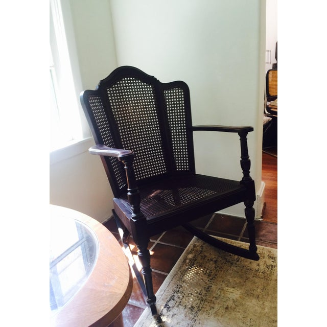 Vintage Wood & Cane Rocking Chair - Image 3 of 8