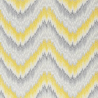 Sample - Schumacher Petit Feu Stripes Wallpaper in Cadmium Yellow & Grey For Sale