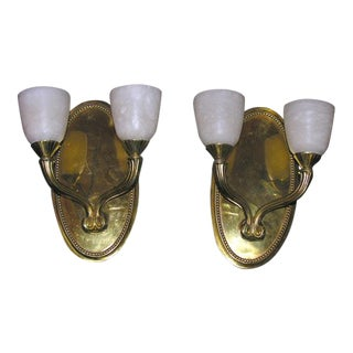Pair of Deco-Style Two-Branch Wall Sconces For Sale