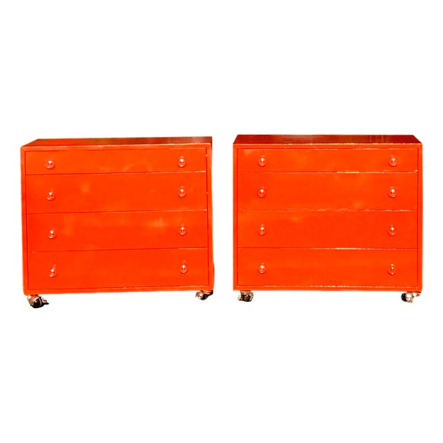 Wide Blood Orange Solid Wood Four Drawers & Casters Side Table / End Table - a Pair For Sale - Image 10 of 10