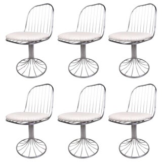 Vintage Chrome Tulip Base Swivel Chairs - Set of 6 For Sale