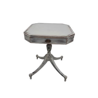 Antique Mahogany Side Table Gustavian Style Gray Distressed Accant Table Cottage Shabby Gray Painted Night Table Paris Apartment Table For Sale