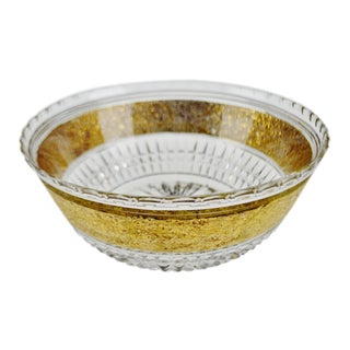 Vintage Cut Crystal Bowl W/ Gold Colored Overlay Band For Sale