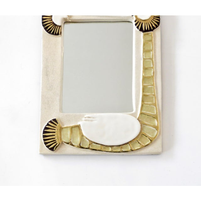 1960s French Francois Lembo Ceramic Wall Mirror For Sale - Image 5 of 8