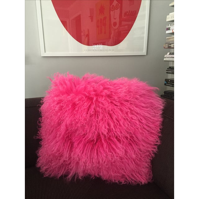 Pink Mongolian Lamb Fur Pillow - Image 6 of 6