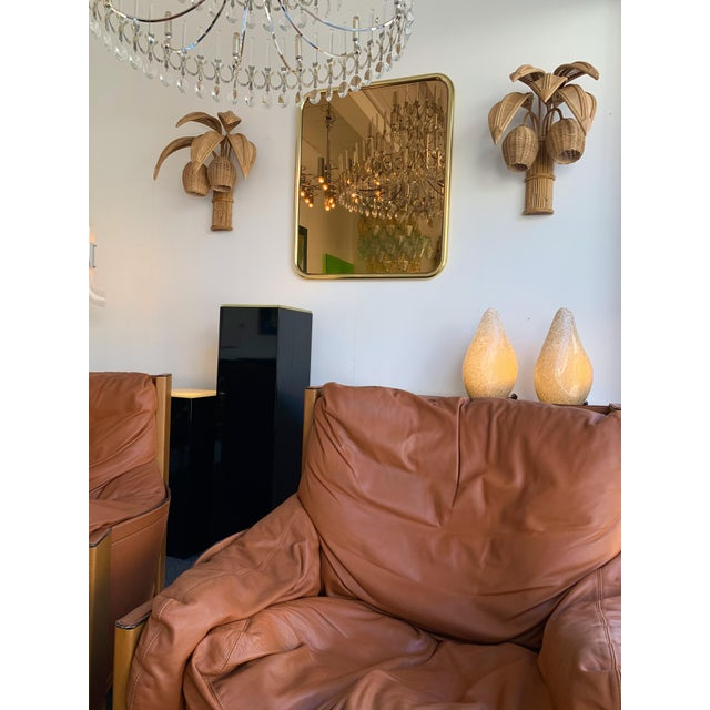 Wood 1980s Rattan Palm Tree Sconces, France - a Pair For Sale - Image 7 of 13