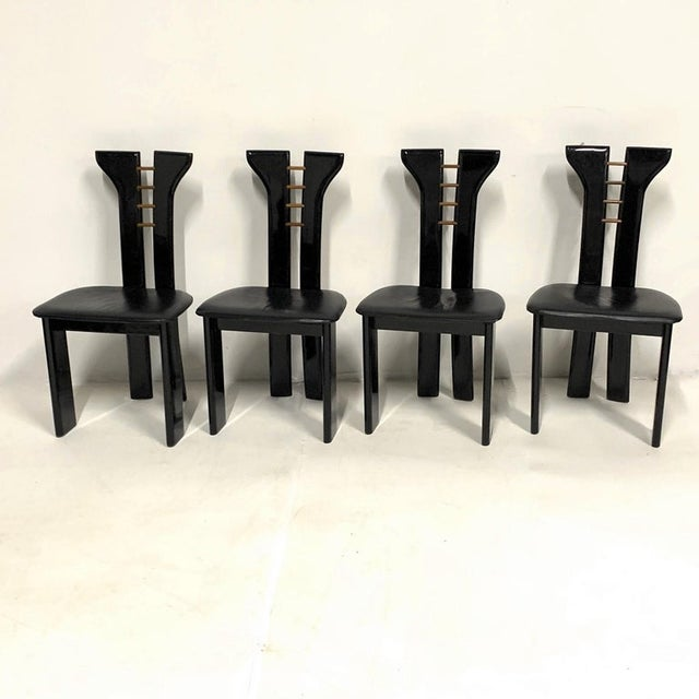 Wood 1970s Pierre Cardin Sculptural Black Lacquer Chairs With Leather Seats - Set of 4 For Sale - Image 7 of 10