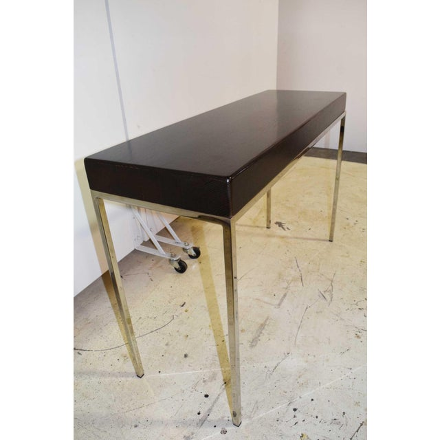 Contemporary Swaim Modern Wood Top Side Table For Sale - Image 3 of 6