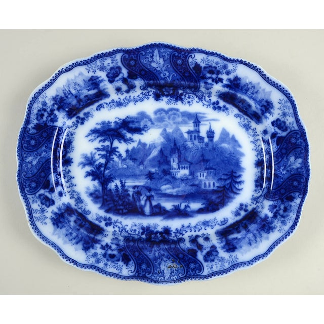 """Burgess & Leigh Flow Blue 12"""" Oval Serving Platter For Sale In Greensboro - Image 6 of 6"""