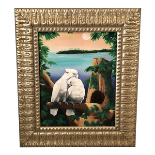 South African Original Artist Signed Oil Painting of Cockatoos For Sale