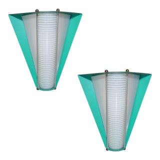 Pair of Googie Enameled Teal Wall Sconces With Pattern Milk Glass Insert. Circa 1958 For Sale