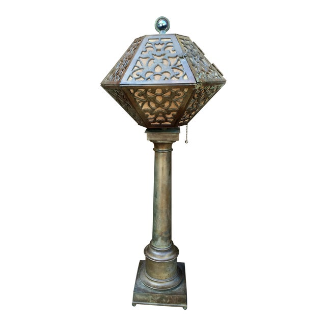1920's American Arts & Crafts Movement Bronze Table Lamp For Sale