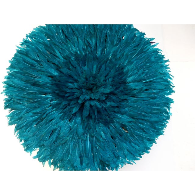 Ceremonial Turquoise Juju Hat Wall Hanging - Image 3 of 7