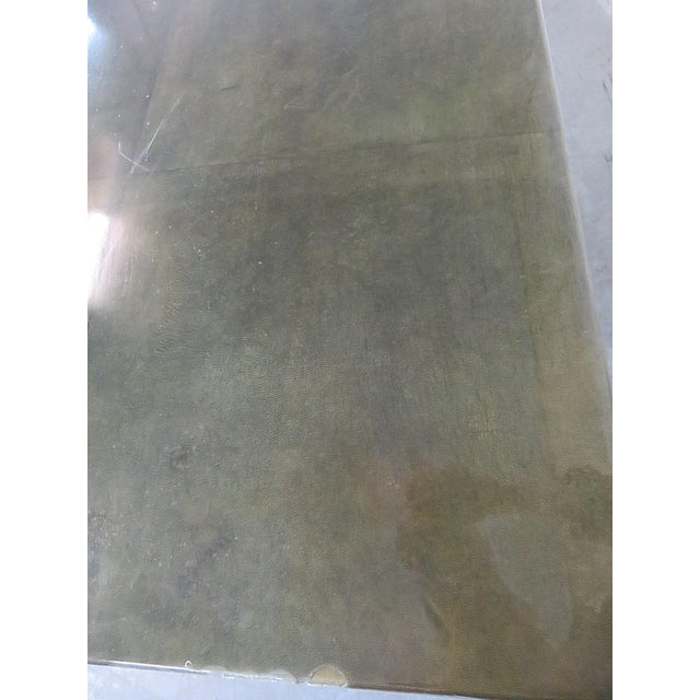 Green Shagreen Top Painted Wood Dining Table For Sale - Image 8 of 11