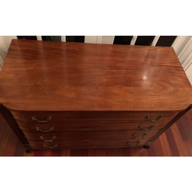 Lovely traditional solid mahogany chest of drawers. This classic design works nicely in a bedroom, hallway paired with a...