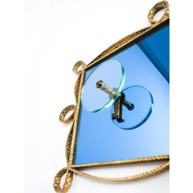 Pierluigi Colli Coatrack Wall Wardrobe Iron Blue Glass Mirror, Italy 1950. Beautiful coatrack made from smooth glass...