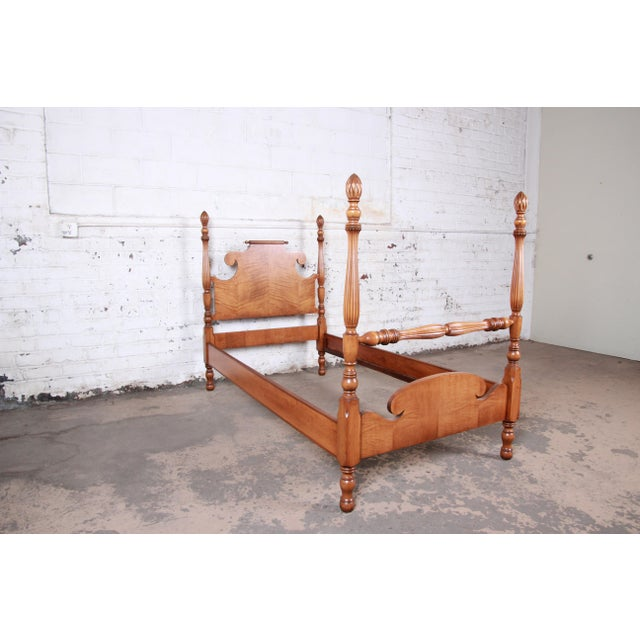 Wood Vintage Tiger Maple Twin Pineapple Poster Beds, Pair For Sale - Image 7 of 13